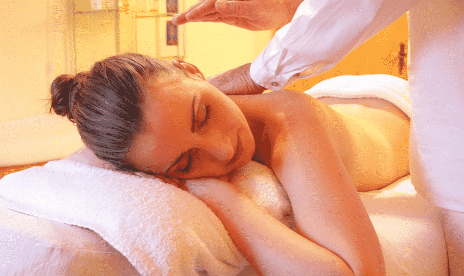 an image of a lady receiving tantric massage in london